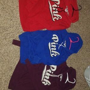 3 vs pink hoodies